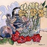 FLOWERS WITH TAIRONA JAR